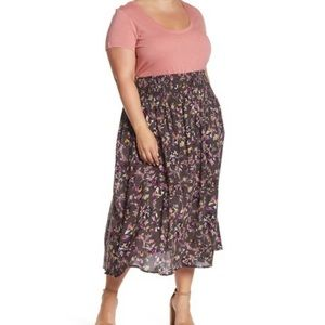 NWT Susina | Ruched Floral Midi Skirt Plus Skirt